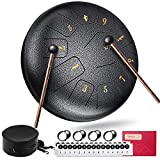 Alloy Steel Tongue Drum, Gimars Upgrade Clear Tones 11 Notes 10 inch Hand Drum with Travel Bag Book Mallets Drumsticks for Adult Kids Meditation Drum Entertainment Musical Education Healing Yoga