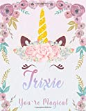 Trixie: Personalized Unicorn Sketchbook For Girls With Pink Name....