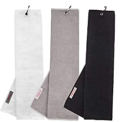 """commercial Haphealgolf Golf Towel 16 x 21"""" Triple Waffle Microfiber with Snap Hook (3 Black + Gray + White) taylormade golf towel"""