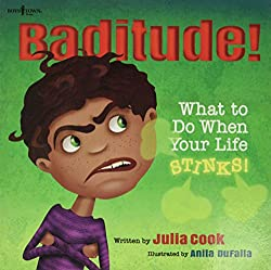"School counselor book review of ""Baditude!"" and amazon link and lesson plan activites"