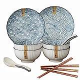 14 Piezas Juegos de Vajilla de Porcelana, Juego de vajilla de cerámica japonesa para 4 Personas, 4 tazones, 2 Platos Llanos, 4 Cuchara, 4 Palillos, Apto para lavavajillas, microondas y congelador
