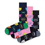 Happy Socks Mixed Cat Socks Gift Set 3-Pack farbenfrohe & verspielte Geschenkboxen für Männer & Frauen, Premium-Baumwollsocken, 3-Paare,Größe 36-40