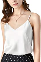 Silk Tank Tops for Women 3 Pack & 4 Pack Satin Camisoles V Neck Spaghetti Strap Cami Plus Size Sleeveless Blouses