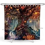 DESIHOM Halloween-Duschvorhang, Waldfee, Duschvorhang, bunte Bäume des Lebens, Duschvorhang, Urlaub, Duschvorhang für Badezimmer, 183 x 183 cm