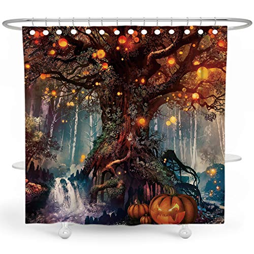 DESIHOM Halloween Shower Curtain Horror Pumpkin Shower Curtain Tree of Life Theme Holiday Shower Curtain for Bathroom 72x72 Inches