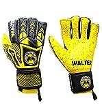 Walter - Guantes profesionales de portero de fútbol, modelo Tiger con varillas, amarillo, 6