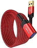 JSAUX USB 3.0 延長ケーブル USB 延長 【2M 2本セット】 高速データ転送 aオス-aメス USBケーブル 延長コード 金メッキコネクタ プリンター スキャナー カメラ USBディスク キーボードに対応 (レッド)