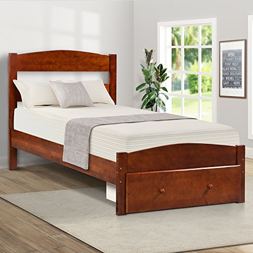 Merax. Wood Platform Bed Frame with Storage and Headboard, Wooden Bed Frame, Twin (Walnut)