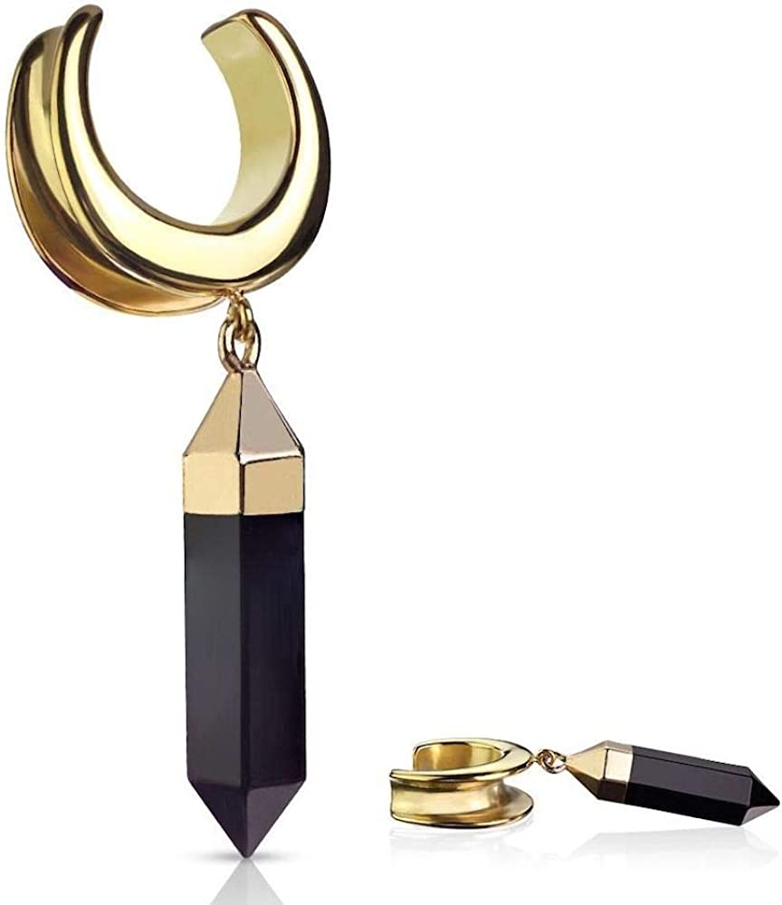 Covet Jewelry Saddle Spreader with Onyx Dangle PVD Gold Over 316L Surgical Steel