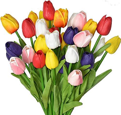 24 Tulipanes Artificiales Multicolores, de Poliuretano sintético, arreglo de Flores de Tacto Real, para el hogar, la Oficina, Fiesta, Boda, excelente Idea de Regalo para el día de la Madre