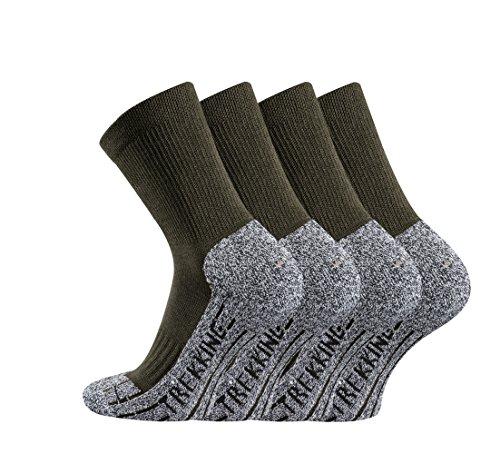 TippTexx24 Trekkingsocken, 4 Paar Trekking Socken Coolmaxsocken, Oliv, 39/42