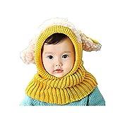 SUCES Baby Mütze Schal Jungen Strickmütze Mädchen Hüte Süß Mützen Halstücher Winter Kinder Warm Fleece Schalmütze (Gelb,one size)