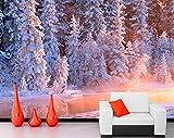 Hwhz Bosques De Invierno Abeto Arroyo Nieve Naturaleza Foto Papel Pintado De Abeto, Sala De Estar Sofá Tv Pared Dormitorio Murales Personalizados-400X280Cm