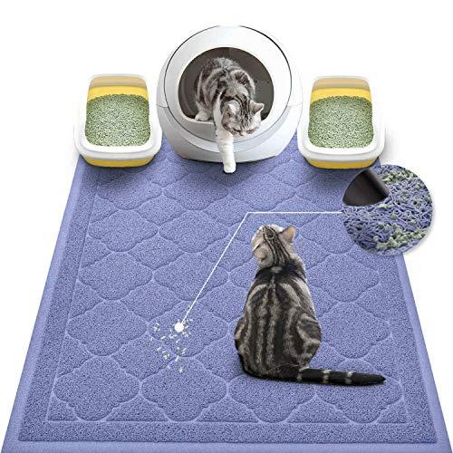 WePet Cat Litter Mat Jumbo, Kitty Litter Trapping Mess Mat, XXLarge Size, 47 x 36 Inch, Premium Durable Soft PVC Rug, No Phthalate, Urine Waterproof, Washable, Scatter Control, Litter Box Pad, Purple