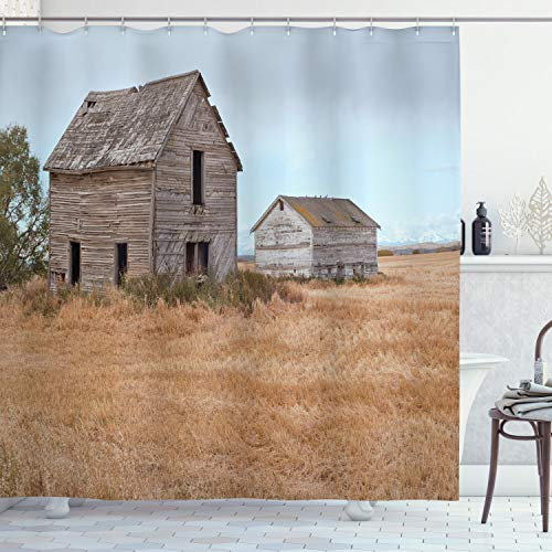 """Ambesonne Country Shower Curtain, Abandoned Wooden House in Grain Agriculture Farmland Tree Gloomy Weather Theme, Cloth Fabric Bathroom Decor Set with Hooks, 75"""" Long, Yellow Brown"""