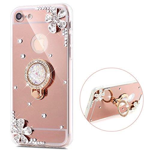 Herbests Coque pour iPhone 5/5S/SE,iPhone 5/5S/SE Coque, Diamant Bling Coque pour iPhone 5/5S/SE,Ultra Slim Cristal Brillant Reflet Miroir Case,Cercle Or Rose