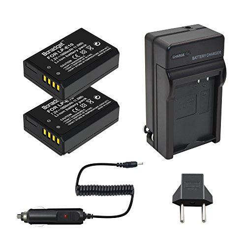 Bonadget 2 Pack LP-E10 Battery and Charger Compatible with Canon EOS Rebel T3 T5 T6 T7, Kiss X50 X70 X80 X90, EOS 1100D, 1200D, 1300D 2000D,3000D