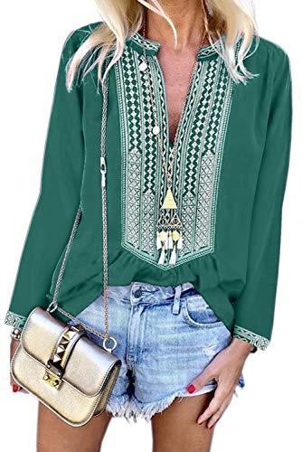 Asvivid Damen Bluse mit V-Ausschnitt, Bestickt, Blumenmuster Gr. 42-44, grün