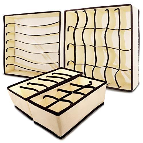 KYONANO Aufbewahrungsbox für Unterwäsche, Aufbewahrungsbox Schublade, Schubladen-Organizer für Kleiderschrankschublade, Socken Aufbewahrung, Faltbare Stoffbox für Socken, BHS&Krawatten, Beige(4er/Set)