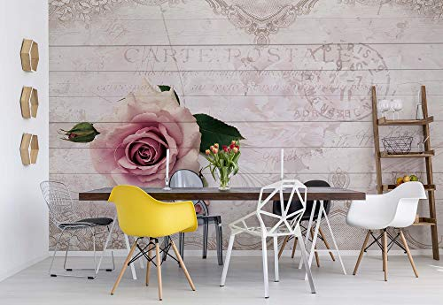 Pinke Rose - Wallsticker Warehouse - Fototapete - Tapete - Fotomural - Mural Wandbild - (3346WM) - M - 104cm x 70.5cm - VLIES (EasyInstall) - 1 Piece
