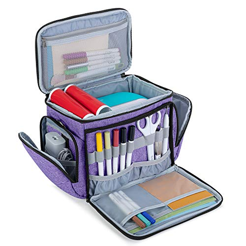 Luxja Carrying Bag for Cricut Joy, Carrying Case for Cricut Joy and Tool Set, Tote for Cricut Joy (with Supplies Storage Sections, Patent Pending), Purple (Gray Lining)