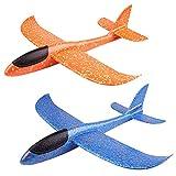 Huture 2 Stücke 15 Zoll Styroporflieger Flugzeug Kinder Flugzeug Spielzeug Outdoor Wurf Segelflugzeug Schaum Flugzeug Spielzeug Glider Blau Orange Flugzeug Geschenk für Junge Mädchen Kindergeburtstag