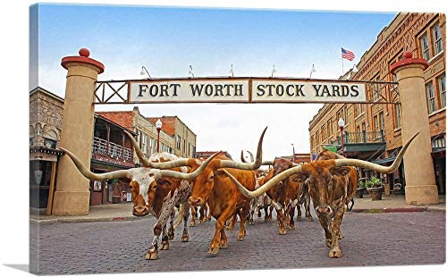 ARTCANVAS Fort Worth Texas Bulls Stock Yards Canvas Art Print 26 x 18 0 75 Deep product image