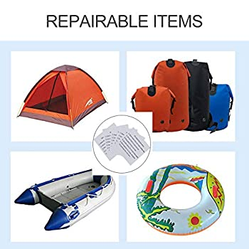 Ikaar Lot de 10 patchs de réparation gonflables en polyuréthane thermoplastique imperméable et transparent en nylon auto-adhésif pour tente, veste, veste et réparation