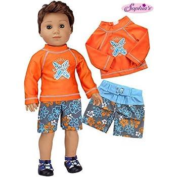 "Blue Shark Rash Guard Swim Shorts Set Fits 18/"" American Girl or Boy Doll Clothes"