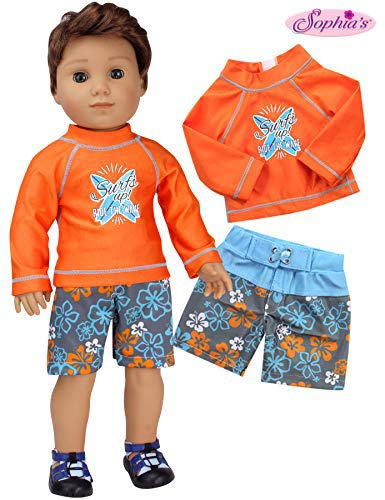 Sophia's Bathing Suit and Rash Guard for 18 inch Boy Doll | Orange Surf Shirt and Floral Print Swim Trunks