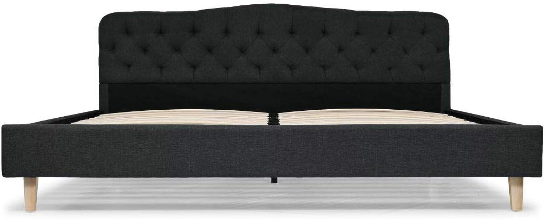 Tidyard- Doppelbett Polsterbett Stoff mit Lattenrost Schlafzimmerbett Bettgestell 180 x 200 cm Dunkelgrau