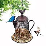 Kimdio Wild Bird Feeder Hanging, Screen Bird Feeder, Outdoor Garden Backyard Decorative Great for Attracting Pet Hummingbird Feeder, Kettle Shaped - Large