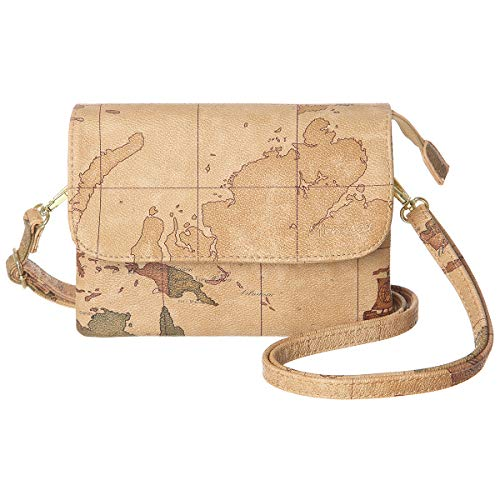 MINICAT Women World Map Series Synthetic Leather Small Crossbody Cell Phone Purse Wallet Smartphone Bags For Travel(H-Map-RFID Blocking)