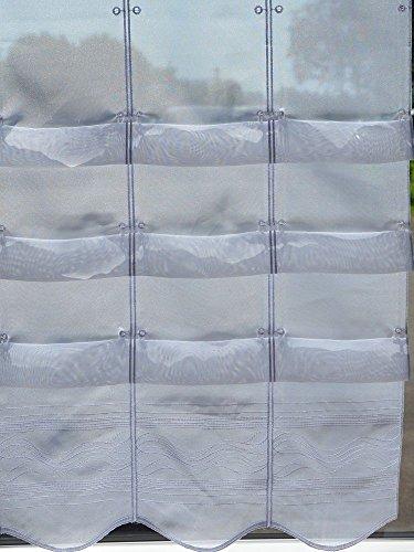 Cliprollo Welle Streifen Bestickt weiß mit Höhe 175cm (ungerafft) | Breite der Gardine frei wählbar in 16cm Schritten | Gardine | Panneaux