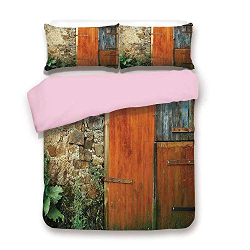 Pink Duvet Cover Set,Twin Size,Old Fashion Country House French Entrance Stone Wall Farmhouse Picture Print,Fashion 3 Piece Bedding Set with 2 Pillow Sham,Best Gift For Girls Women,Brown Green