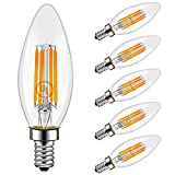 LED Light Bulbs, Emotionlite Dimmable Candelabra Bulbs, E12 Base, Warm White, Chandelier Light, Ceiling Fan Bulb, 40W Equivalent, 4W, 2700K, 350LM, UL Listed, 6 Pack