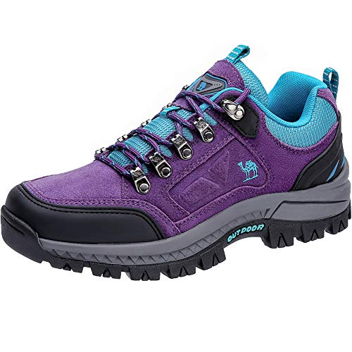 CAMEL CROWN Women's Outdoor Leather Hiking Shoes Low Cut Boots Breathable Lightweight Sneaker for Walking Trekking(Purple,7.5 M US)