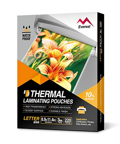 Everest Thermal Laminating Pouches 89 x 114 Inches 3 Mil Thick 220  Pack Letter Size Sheets ClearTH030002