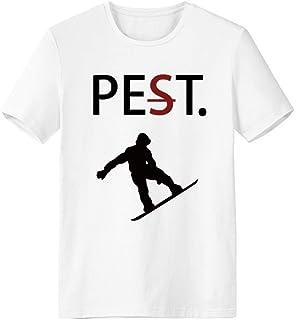 CaoGSH T-shirt à manches courtes pour sauter à la planche à roulettes Noir Silhouette Pet But Not Pest Blanc