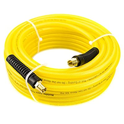 Maxaline Air Hose,Hybrid Polymer & PU,Compressor Hose,Non-Kinking, 300 PSI With 1/4inch MNPT Fittings(Yellow)