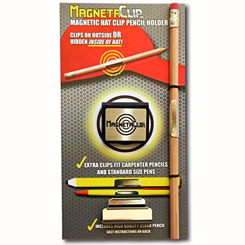 MAGNETACLIP Magnetic Hat Clip Pencil and Pen Holder, Strong Magnetic Clip, with Cedar Pencil and Extra Pencil/Pen Clips