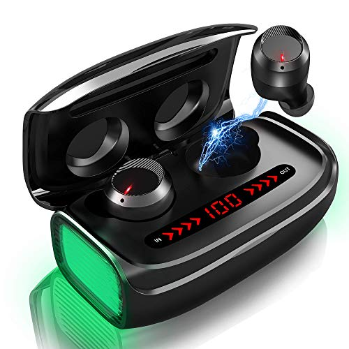 Auriculares Inalámbricos Bluetooth 5.0 Mini Twins In-Ear Estéreo Hi-Fi Deportivos Auriculares con 170H Playtime CVC8.0 Reducción de Ruido IPX5 Impermeable Control Tactil con 3000mah Caja de Carga