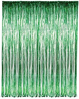 Rhode Island Novelty 1 X 3 ft x 8 ft Green Tinsel Foil Fnge Door Window Curtain Party Decoration