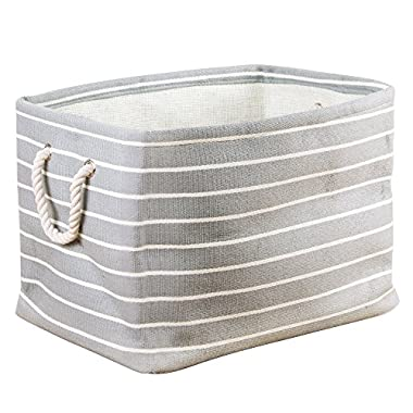 InterDesign Luca Fabric Storage, Bin with Handles for Blankets, Pillows, Clothing, Towels - Large, Gray/Cream