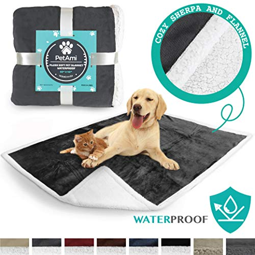 PetAmi Waterproof Dog Blanket for Couch, Sofa | Grey Waterproof Sherpa Pet Blanket for Large Dogs, Puppies | Super Soft Washable Microfiber Fleece | Reversible Design | 50 x 40 (Charcoal)