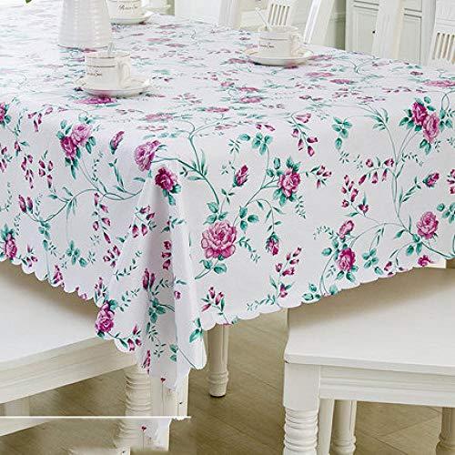 Traann plastic tafelhoezen schoon te vegen, Vierkant Veeg schoon tafelkleed Rechthoekig Waterdicht Vinyl voor Tuin Keuken Buiten of Binnen Kleine bloem paars 137*200