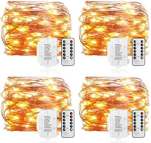 KooPower 4Stk Batterie Kupferdraht Lichterketten mit Fernbedienung und Timer, 8 Modi DIY Lichterkette mit IP65 Wasserdicht für Weihnachten, Garten, Hochzeit, Außen und Inhen Dekoration