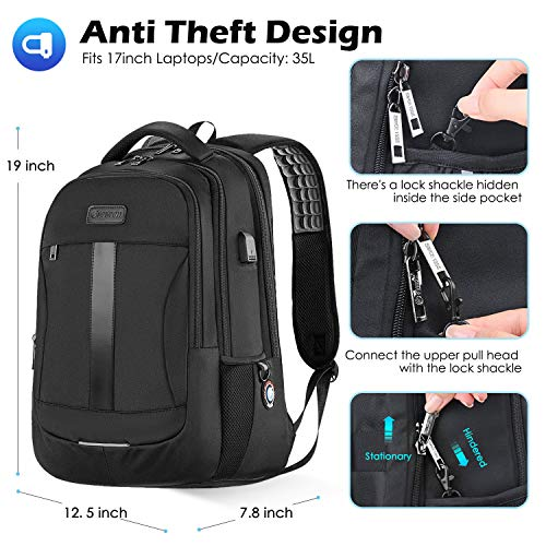 51d4KLJ6g+L - Laptop Backpack, 17-Inch Sosoon Travel Backpack for Laptop and Notebook, High School College Bookbag for Women Men Boys, Anti-Theft Water Resistant Bussiness Bag with USB Charging Port, Black