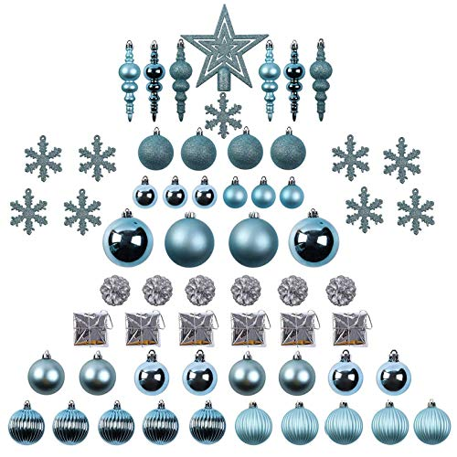 Sunnyglade 60ct Blue Christmas Tree Ball Ornaments Set Shatterproof Christmas Bling-Bling Hanging Decoration with Hand-held Gift Package for Xmas Tree Holiday Wedding Party