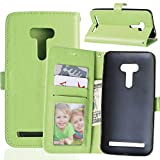 Fatcatparadise Kompatibel mit Asus ZenFone Selfie ZD551KL Hülle + Bildschirmschutz, Flip Wallet Hülle mit Kartenhalter & Magnetverschluss Halterung PU Leder Hülle handyhülle (Grün)